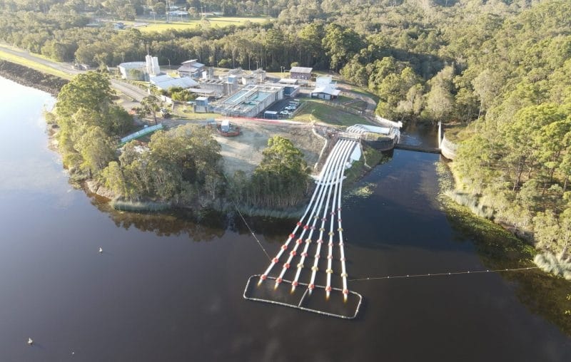 aerial view of pipelines and water treatment plant at Ewen Maddock Dam