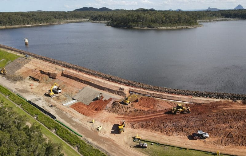 Aerial view of earthworks gear at Ewen Maddock Dam